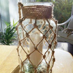 Photophore en verre avec jute bougie décorative